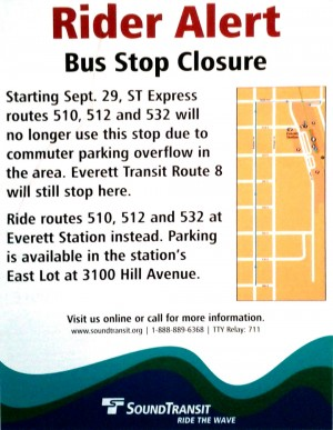Sound Transit Rider Alert: Stop Closure (510, 532, 512)